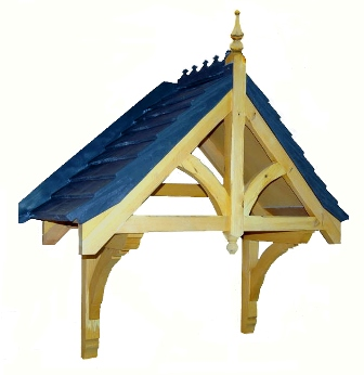 Rivington dual pitch Durotile roof door canopy, 1440mm wide, 530mm projection, F-PCS-GRP-R1