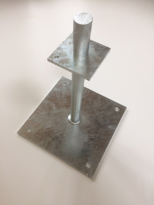 Galvanised post shoe- to be built in to brick course-Post sizes 100/125mm x 100/125mm- GSF-PIN-6